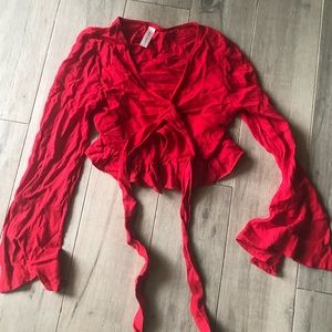 Tops - Fun, red linen crop top! Wrap front -Ruffle detail